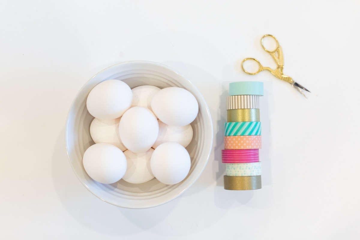 Washi tape and a bowl of Easter eggs