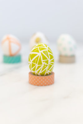 Easter eggs decorated with washi tape