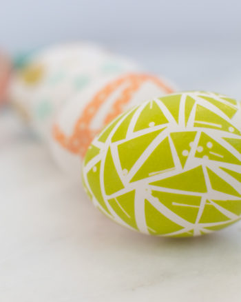 Four decorated Easter eggs using washi tape