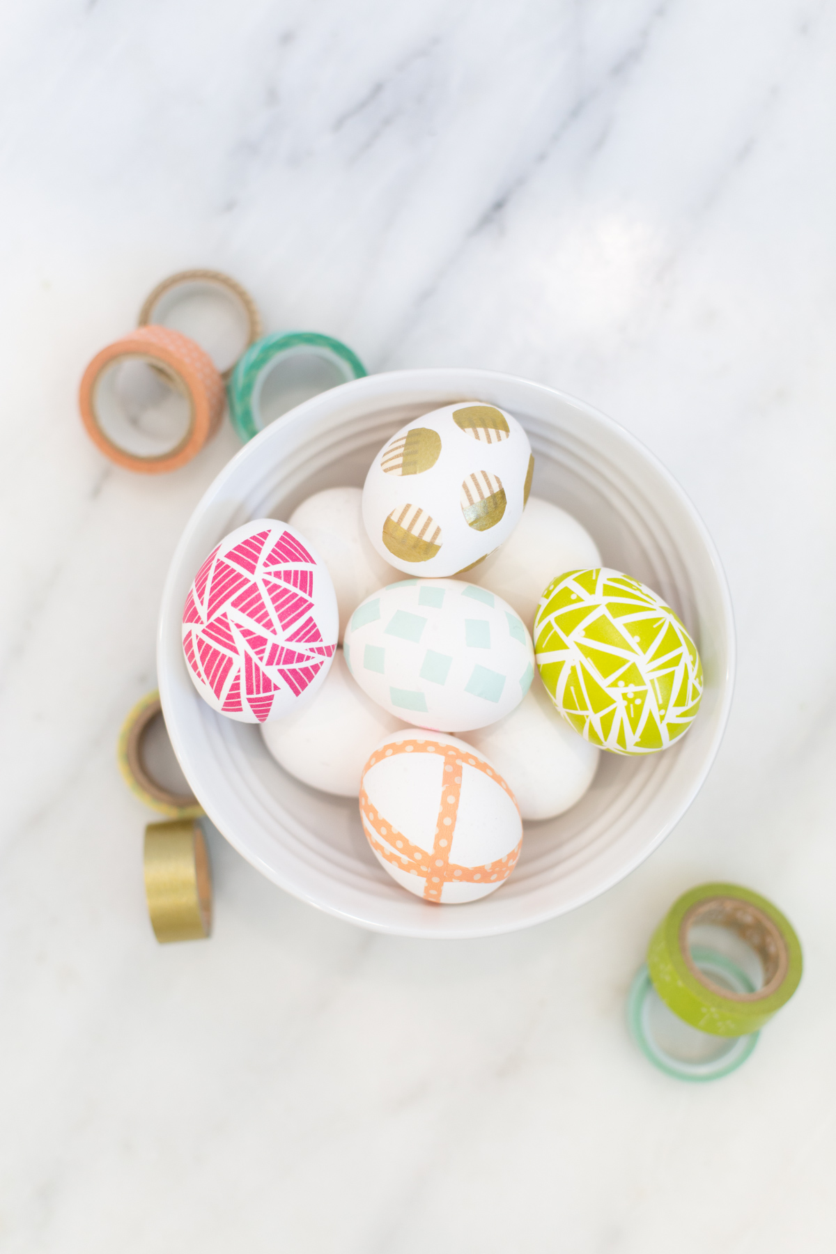 Four No Dye Ideas To Decorate Easter Eggs With Washi Tape