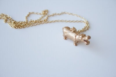 DIY Golden Hippo Necklace