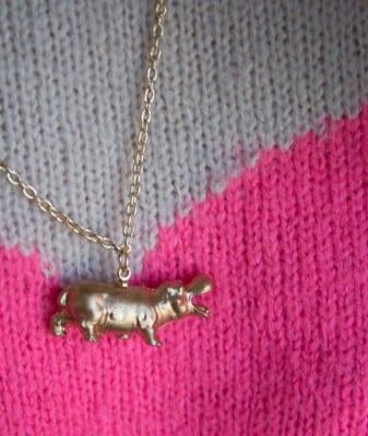 DIY Golden Hippo Necklace