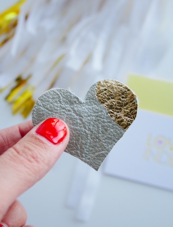DIY Leather and Gold Leaf Heart Clip