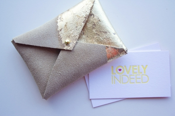 Diy suede and gold leaf business card holder diy gold leaf business card case colourmoves Image collections