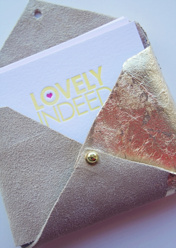 Diy gilded leather business card case win it lovely indeed diy gold leaf business card case reheart Choice Image