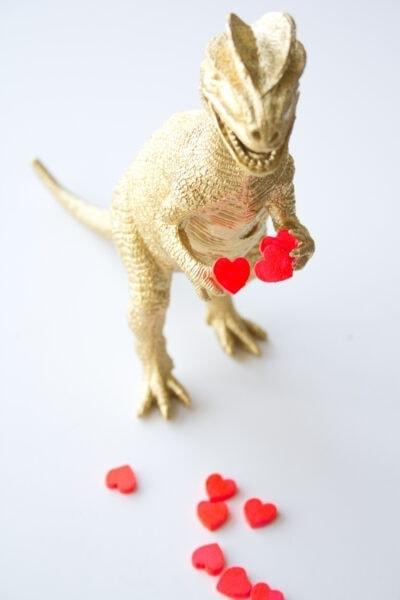 gold painted dinosaur