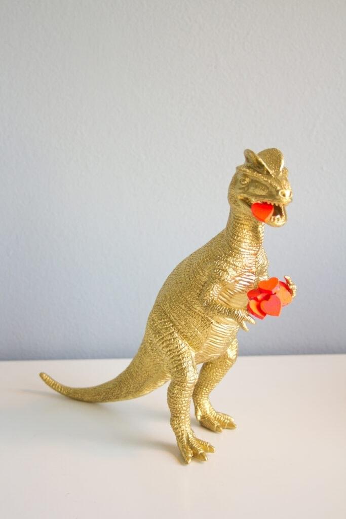 gold dinosaur for valentines day