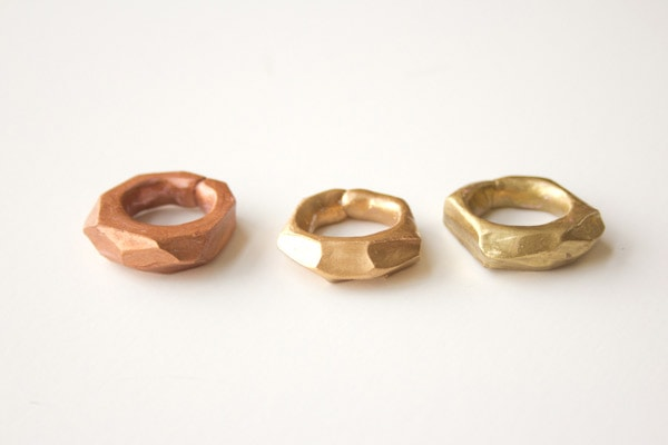 DIY Faceted Clay Rings