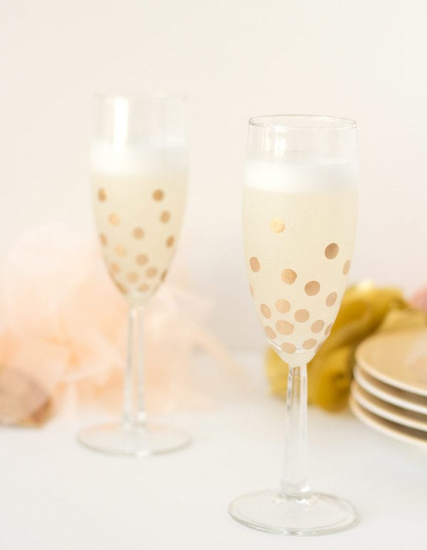 DIY Gold Polka Dot Champagne Glasses thumbnail