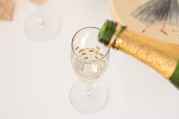 DIY Gold Polka Dot Champagne Glasses