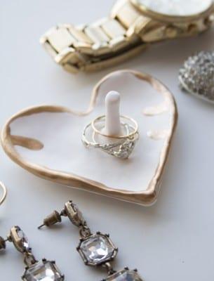 DIY Gilded Heart Ring Dish