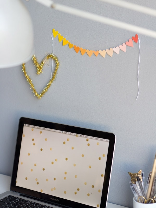 DIY Paint Chip Valentine Garland - Lovely Indeed
