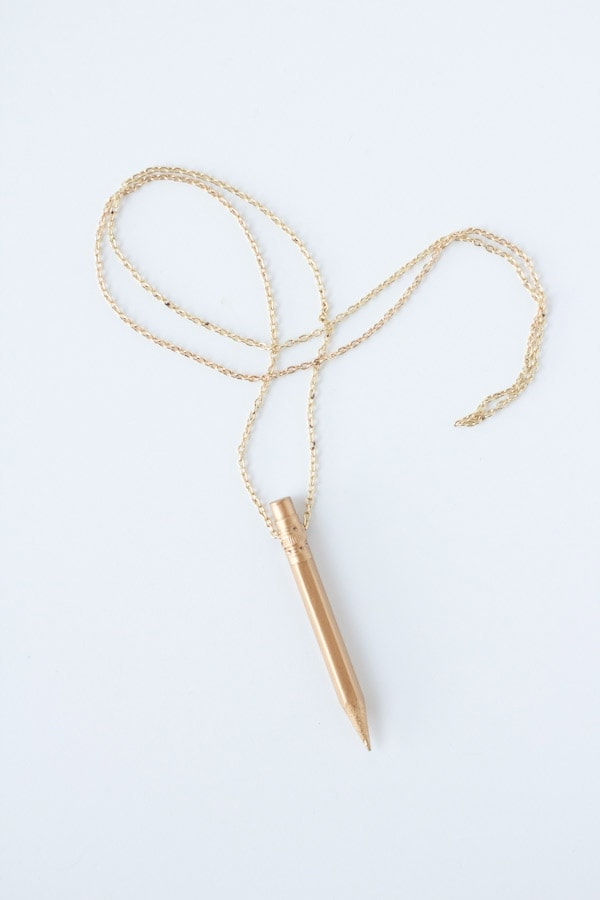 DIY Gold Pencil Necklace