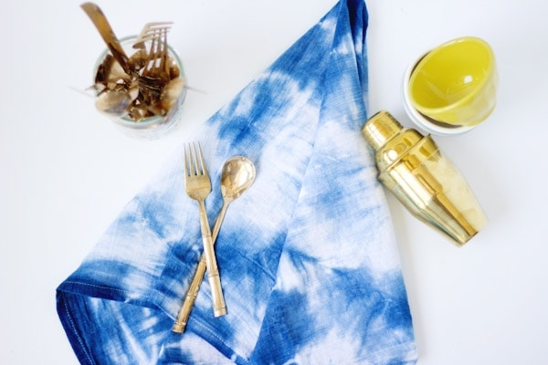 DIY Indigo Shibori Dyed Kitchen Towels