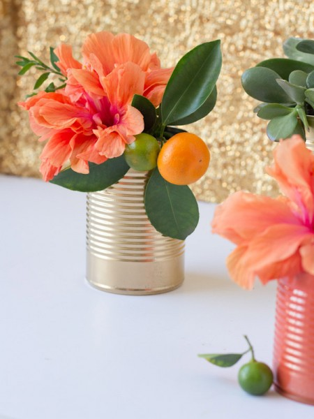 DIY Painted Can Vases