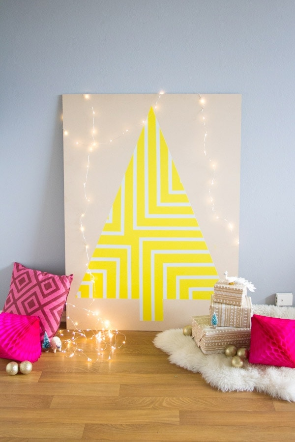 DIY Geometric Painted Plywood Christmas Tree
