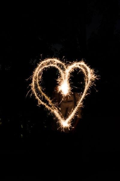 sparkler heart on a black background