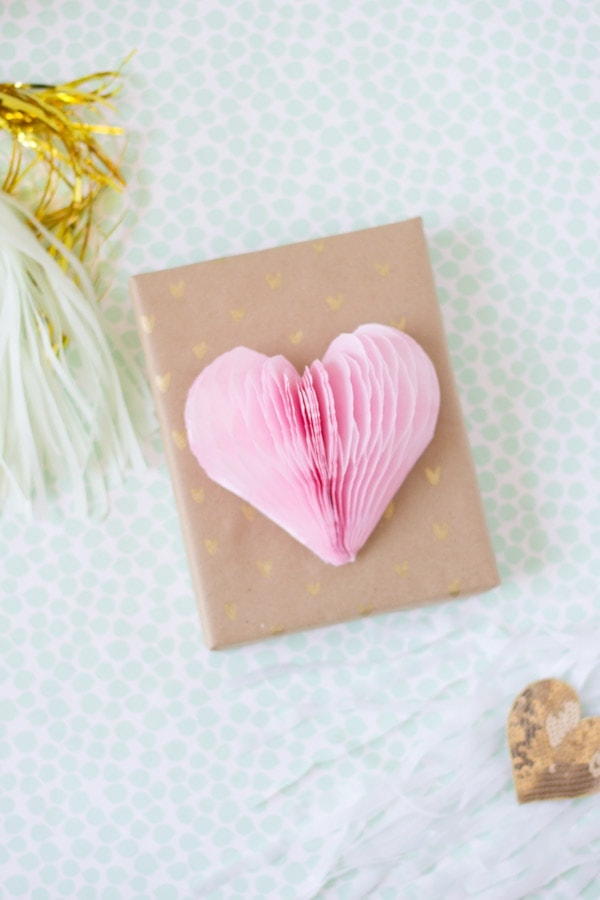 DIY Patterned Gold Wrapping Paper with Honeycomb Heart Gift Topper