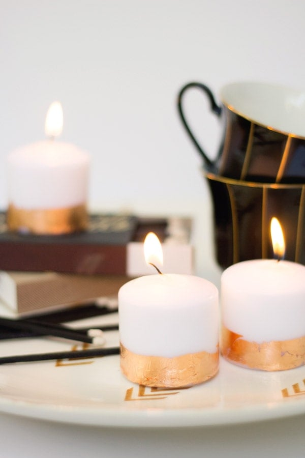 DIY Copper Leaf Candles