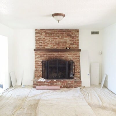 brick fireplace