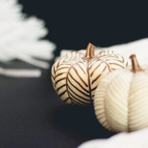 DIY No-Carve Copper Herringbone Pumpkins thumbnail