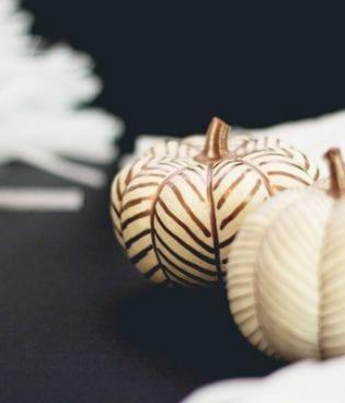 DIY No-Carve Copper Herringbone Pumpkins thumbnail