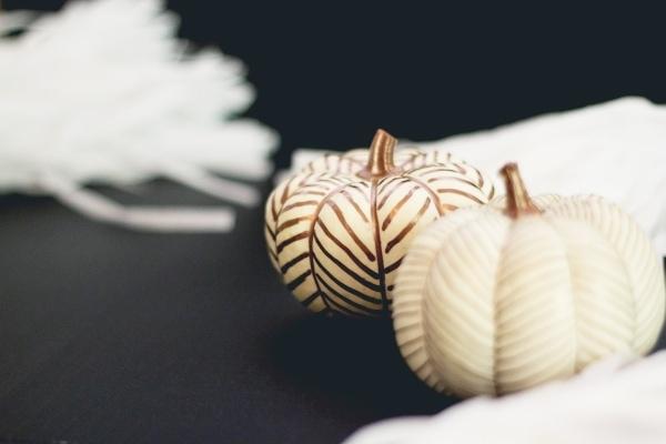 DIY No-Carve Copper Herringbone Pumpkins