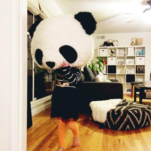 Baby in a Panda Head