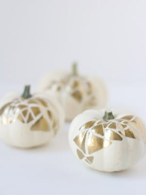No-Carve Gold Geometric Pumpkins