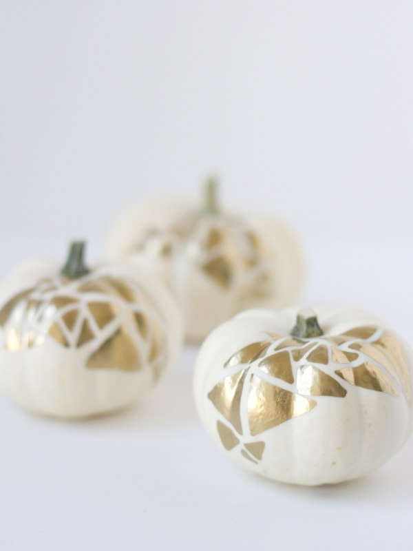 No-Carve Gold Geometric Pumpkins