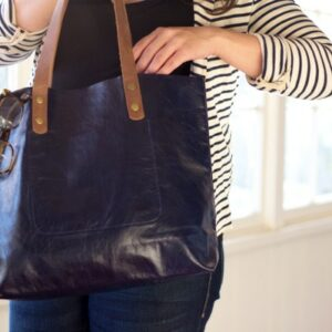 Leah Lerner Leather Tote Bag