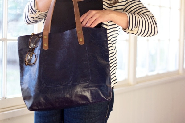 Leah Lerner Leather Tote Bag