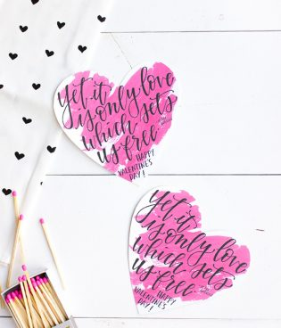 Printable Calligraphy Valentines thumbnail