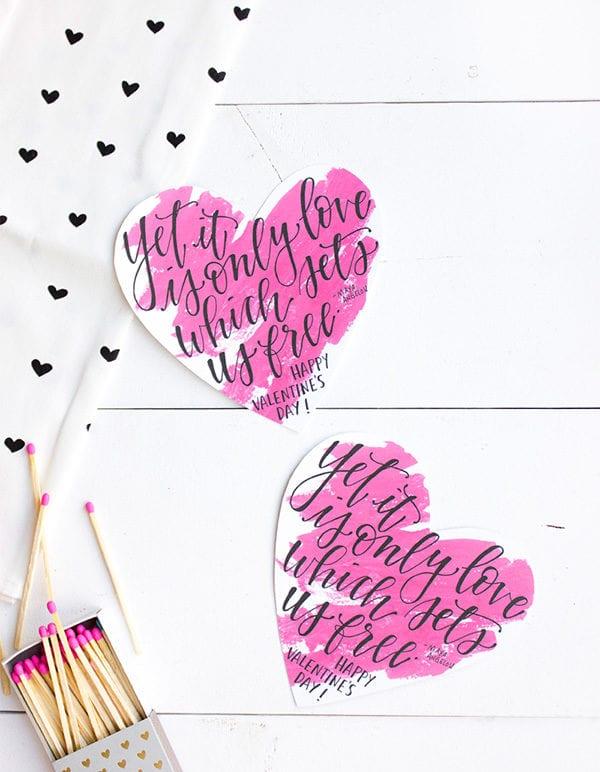 Printable Calligraphy Valentines thumbnail