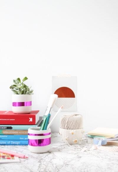 DIY Mylar Desk Organizer Containers