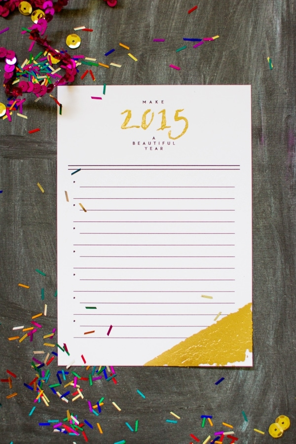 printable new years resolution card with gold leaf