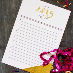 Printable New Year's Resolution Card with Gold Leaf