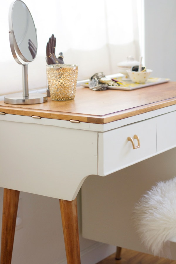 DIY Vanity from a Vintage Sewing Desk