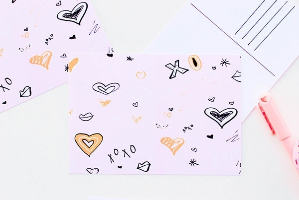 xoxo Wallpaper and Printable Postcard