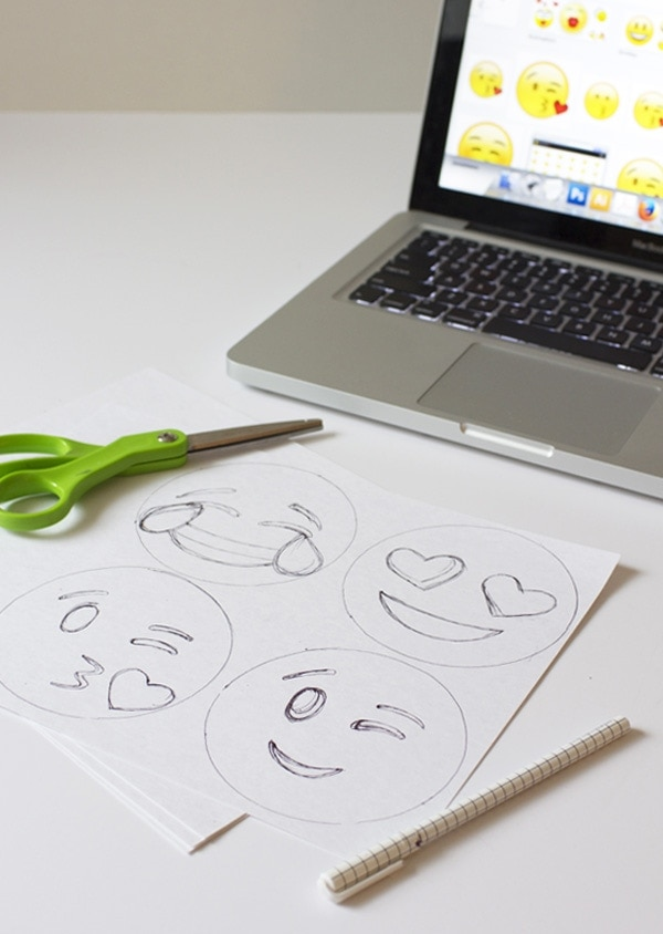 emoji tracings on paper