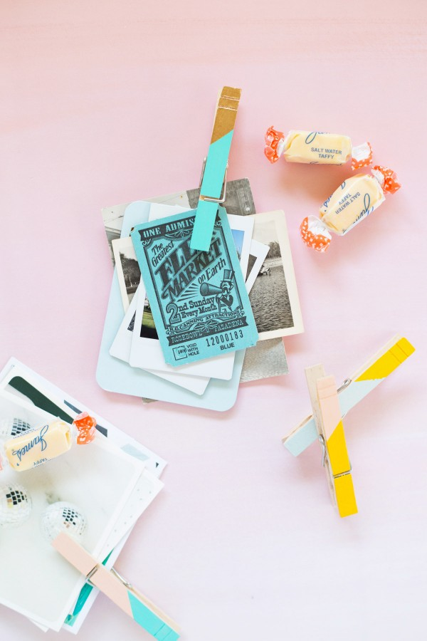 DIY Colorblock Clothespin Clips