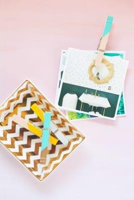 DIY Colorblock Clothespin Clips