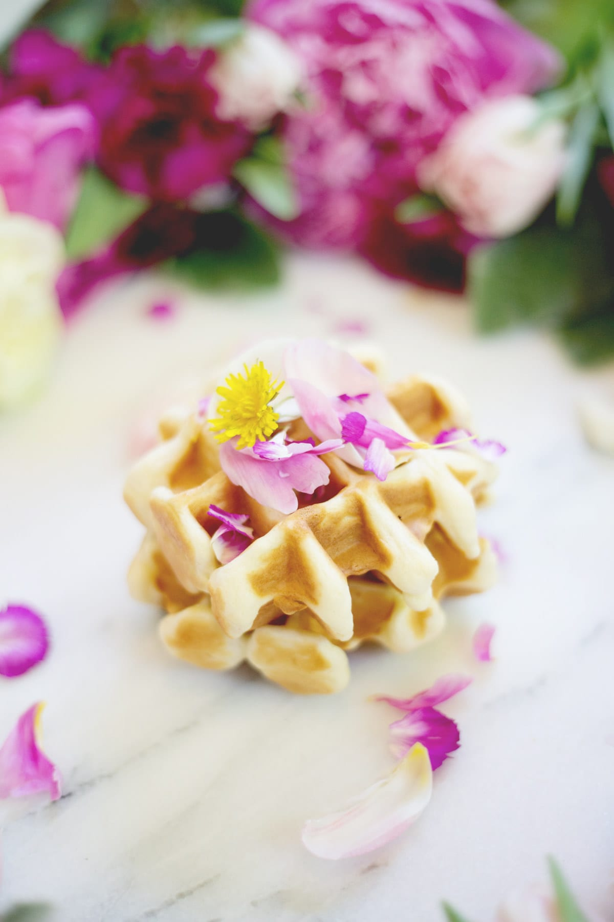 Easter Brunch Idea Edible Flower Waffles Lovely Indeed