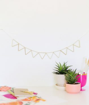 DIY Brass and Suede Geometric Garland + Fun News thumbnail