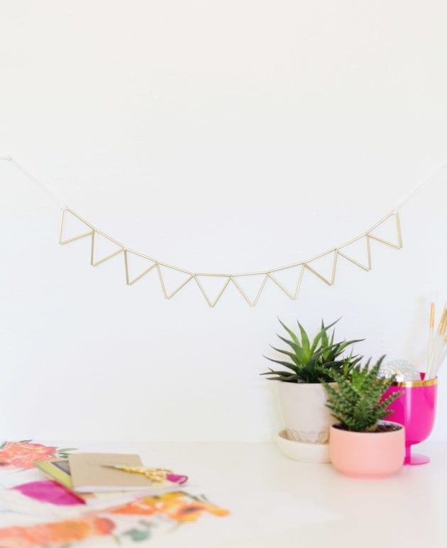 DIY Brass and Suede Geometric Garland thumbnail