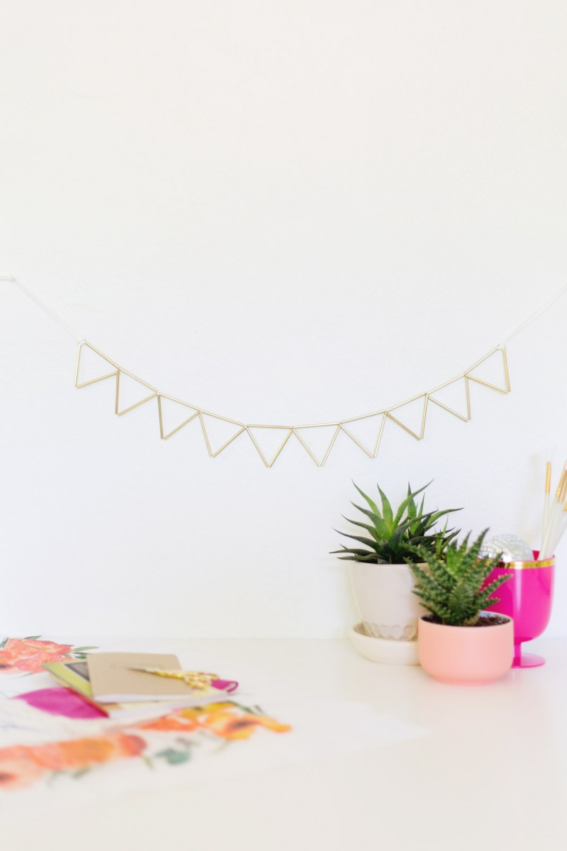 Brass and Suede Geometric Garland