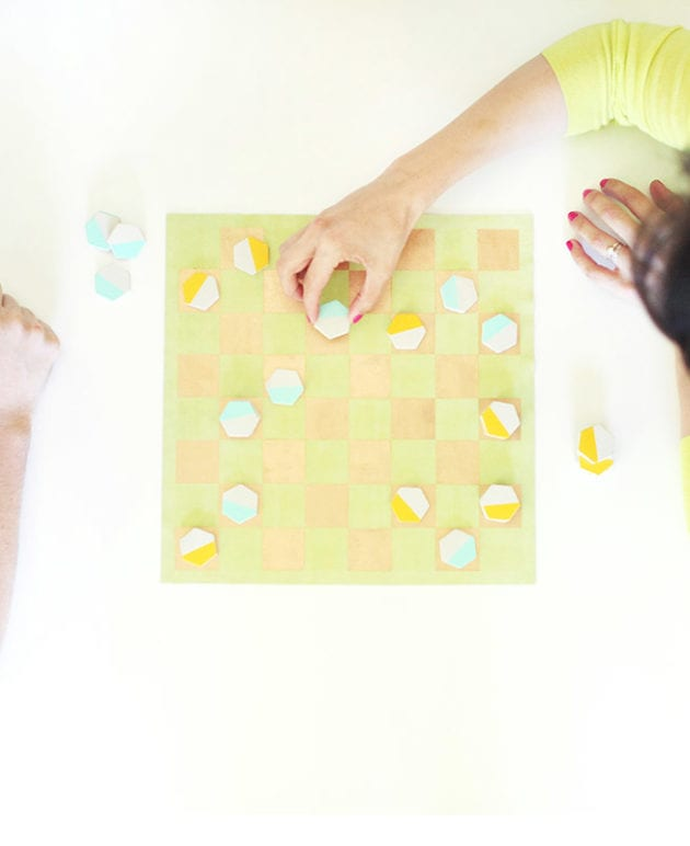 DIY Leather and Cement Checkers Game thumbnail