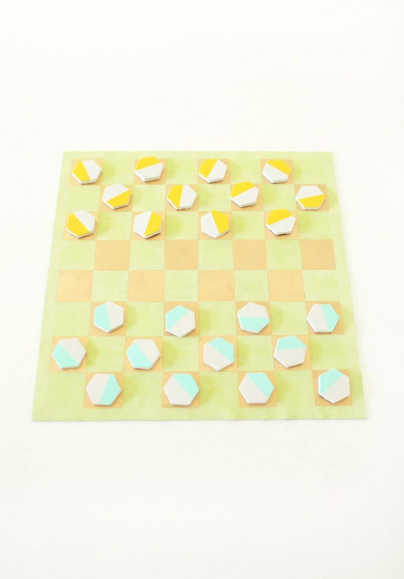 DIY Leather and Cement Checkers Game