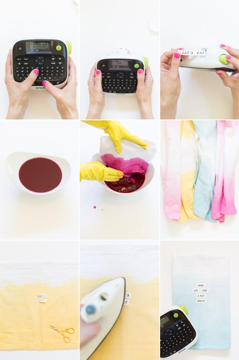 Dip Dye Typography Kitchen Towel Tutorial