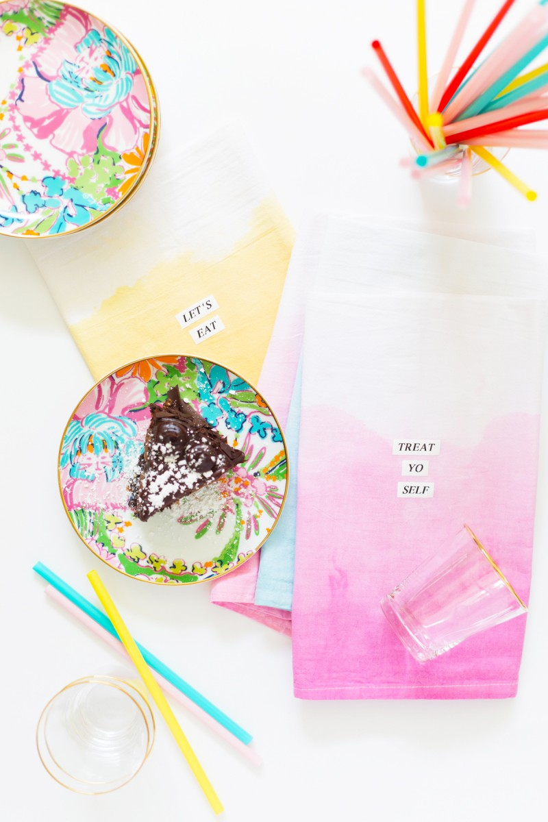DIY Dip Dye Typography Kitchen Towels